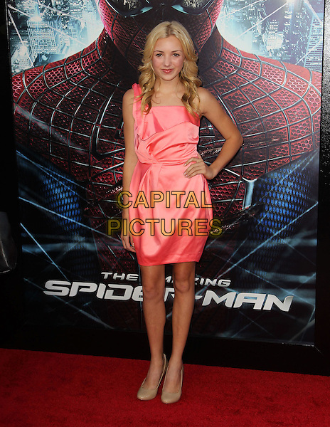 "Peyton List.Los Angeles Premiere Of ""The Amazing Spider-Man"" Held The at Regency Village Theatre, Westwood, California, USA..June 28th, 2012.full length pink silk satin one shoulder dress hand on hip.CAP/ADM/FS.©Faye Sadou/AdMedia/Capital Pictures."
