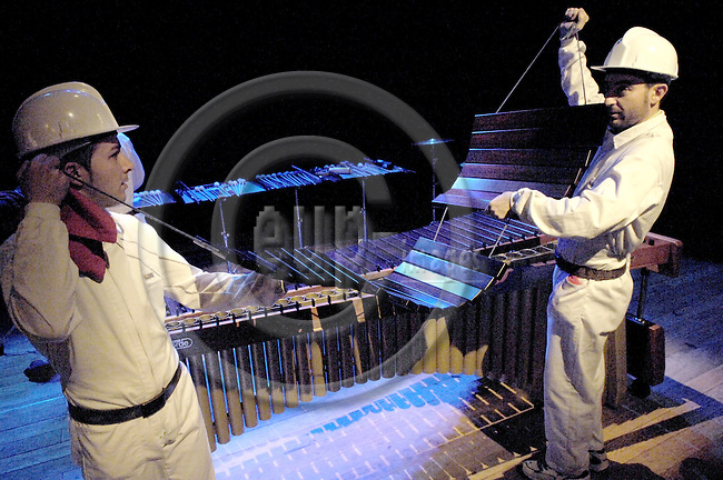 Brussels-Belgium - 16 March 2007---Performance of MarimB'UM by Grupo PERKUSTRA (www.perkustra.com); here, from left to right: Josep FURIÓ (Furio), Antonio DOMINGO---Photo: Horst Wagner/eup-images
