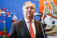 NOVA YORK, EUA, 01.06.2018 - ONU-RUSSIA - António Guterres Secretário-Geral das Organização das Nações Unidas  durante evento de apresentação da Copa do Mundo de 2018 na sede das Nações Unidas em Nova York nesta sexta-feira, 01. (Foto: William Volcov/Brazil Photo Press)