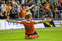 Cameron McGeehan of Luton Town celebrates scoring the opening goal of the game against Newport County during the Sky Bet League 2 match between Luton Town and Newport County at Kenilworth Road, Luton, England on 16 August 2016. Photo by David Horn.