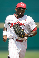 South Carolina's Jackie Bradley Jr. in Game 7 of the NCAA Division One Men's College World Series on Monday June 22nd, 2010 at Johnny Rosenblatt Stadium in Omaha, Nebraska.  (Photo by Andrew Woolley / Four Seam Images)