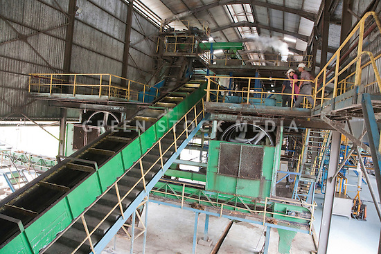Interior of the Sindora Palm Oil Mill, owned by Kulim. It is green certified by the Roundtable on Sustainable Palm Oil (RSPO) for its environmental, economic, and socially sustainable practices. Johor Bahru, Malaysia