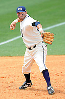 2 May 2010:  FIU's Jeremy Patton (22) throws to first as the University of Louisiana-Monroe Warhawks defeated the FIU Golden Panthers, 8-7 in 11 innings, at University Park Stadium in Miami, Florida.