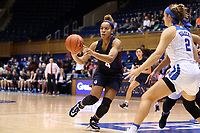 DURHAM, NC - NOVEMBER 29: Kennedy Suttle #4 of the University of Pennsylvania passes the ball during a game between Penn and Duke at Cameron Indoor Stadium on November 29, 2019 in Durham, North Carolina.