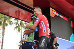 Red Jersey Nicolas Roche (IRL) Team Sunweb greets Green Jersey Nairo Quintana (COL) Movistar Team at sign on before the start of Stage 4 of La Vuelta 2019 running 175.5km from Cullera to El Puig, Spain. 27th August 2019.<br /> Picture: Eoin Clarke | Cyclefile<br /> <br /> All photos usage must carry mandatory copyright credit (© Cyclefile | Eoin Clarke)