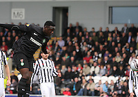 Victor Wanyama scores from a header in the St Mirren v Celtic Clydesdale Bank Scottish Premier League match played at St Mirren Park, Paisley on 20.10.12.