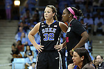 02 March 2014: Duke's Tricia Liston (32) gets some coaching from injured teammate Chelsea Gray (right). The University of North Carolina Tar Heels played the Duke University Blue Devils in an NCAA Division I women's basketball game at Carmichael Arena in Chapel Hill, North Carolina. UNC won the game 64-60.