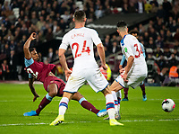 West Ham United Sebastien Haller scoring during the Premier League match between West Ham United and Crystal Palace at the Olympic Park, London, England on 5 October 2019. Photo by Andrew Aleksiejczuk / PRiME Media Images.