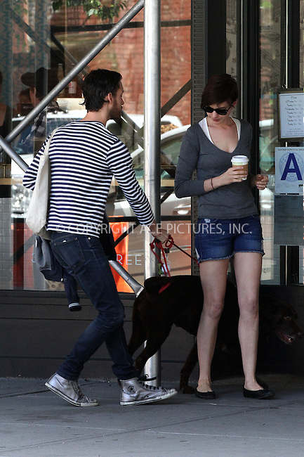 WWW.ACEPIXS.COM<br /> <br /> June 12 2013, New York City<br /> <br /> Actress Anne Hathaway and her husband Adam Shulman walk their dog Esmeralda in Brooklyn on June 12 2013 in New York City<br /> <br /> By Line: Zelig Shaul/ACE Pictures<br /> <br /> <br /> ACE Pictures, Inc.<br /> tel: 646 769 0430<br /> Email: info@acepixs.com<br /> www.acepixs.com