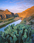 Big Bend National Park, TX:   Morning sun reaches Hot Springs canyon and limestone cliffs above the Rio Grande