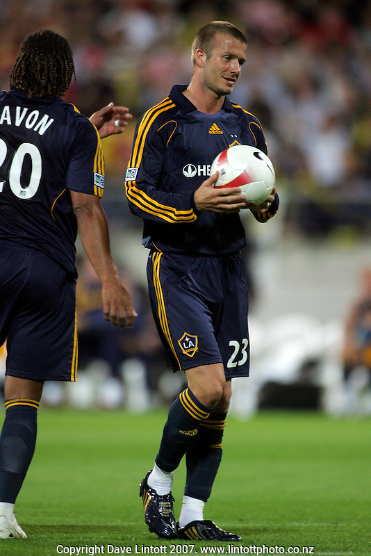 Substitute Carlos Pavon wishes David Beckham luck as he steps up to take a penalty kick during the invitational friendly football match between Wellington Phoenix and LA Galaxy FC at Westpac Stadium, Wellington, New Zealand on Saturday 1 December 2007. Photo: Dave Lintott / lintottphoto.co.nz