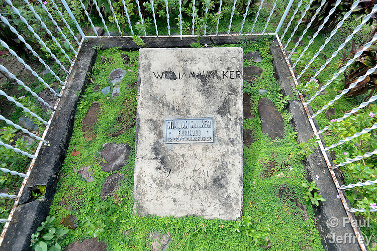 The grave of William Walker in Trujillo, Honduras. Walker invaded Nicaragua and became its president in 1856 and ruled until 1857, when he was defeated by a coalition of Central American armies. He was executed by the government of Honduras in 1860.