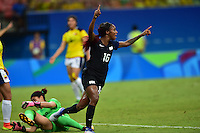 Manaus, Brazil - Tuesday, August 9, 2016: The USWNT and Colombia are all even 1-1 from a goal by Crystal Dunn in first half action in Group G play during the 2016 Olympics at Amazonia Arena.