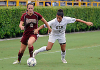 Florida International University women's soccer player Kim Lopez (7)  plays against the University of Denver on October 16, 2011 at Miami, Florida. FIU won the game 1-0. .