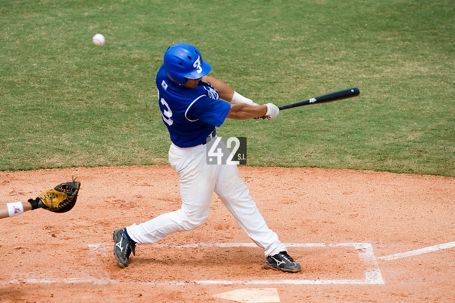 22 August 2007: Boris Marche is seen at bat during the Japan 9-4 victory over France in the Good Luck Beijing International baseball tournament (olympic test event) at west Beijng's Wukesong Baseball Field in Beijing, China.
