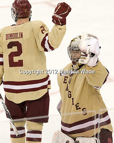 Brian Dumoulin (BC - 2), Parker Milner (BC - 35) - The Boston College Eagles defeated the University of Minnesota Golden Gophers 6-1 in their 2012 Frozen Four semi-final on Thursday, April 5, 2012, at the Tampa Bay Times Forum in Tampa, Florida.