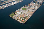Aerial view of Terminal Island Coast Guard Base and Federal Correctional Institution in the Port of Los Angeles, CA