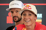 KAILUA-KONA, HI - OCTOBER 11:  A general view of 2018 Champions Patrick Lange and Daniella Ryf looking on during the Professional Athlete Press Conference leading up to the 2018 IRONMAN World Championships in Kailua-Kona, Hawaii on October 11, 2018. (Photo by Donald Miralle for IRONMAN)