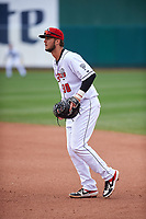 Lansing Lugnuts first baseman Jake Brodt (30) during a Midwest League game against the Wisconsin Timber Rattlers at Cooley Law School Stadium on May 1, 2019 in Lansing, Michigan. Wisconsin defeated Lansing 8-3 after the game was suspended from the previous night. (Zachary Lucy/Four Seam Images)