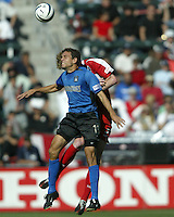 Manny Lagos jumps for a header during the MLS Cup Final.  The San Jose Earthquakes defeated the Chicago Fire 4-2 in the MLS Championship at The Home Depot Center in Carson, CA on November 23, 2003.