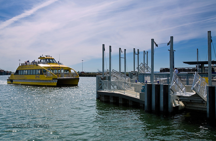 The watertaxi arriving to load and unload passengers at the dock of the new Ikea store in Red Hook, Brooklyn, New York