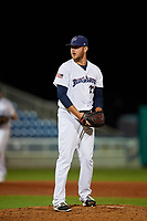 Pensacola Blue Wahoos Shrimp relief pitcher Joel Bender (27) gets ready to deliver a pitch during a game against the Jacksonville Jumbo on August 15, 2018 at Blue Wahoos Stadium in Pensacola, Florida.  Jacksonville defeated Pensacola 9-2.  (Mike Janes/Four Seam Images)