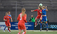 Washington Freedom defender Sonia Bompastor (8) and Boston Breakers midfielder Stacy Bishop (4) battle for a head ball. The Boston Breakers tied the Washington Freedom, 1-1, at Harvard Stadium on May 17, 2009.