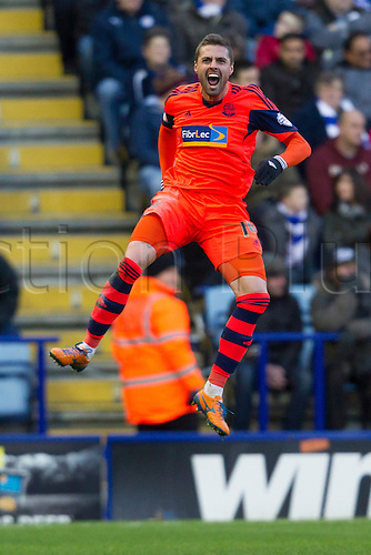 29.12.2013 Leicester, England. Andre MORITZ (Bolton Wanderers) celebrates Bolton's equaliser during the Sky Bet Football League Championship game between Leicester City and Bolton Wanderers from the King Power Stadium.