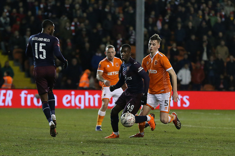 Arsenal's Edward Nketiah shields the ball from Blackpool's Paudie O'Connor<br /> <br /> Photographer Stephen White/CameraSport<br /> <br /> Emirates FA Cup Third Round - Blackpool v Arsenal - Saturday 5th January 2019 - Bloomfield Road - Blackpool<br />  <br /> World Copyright © 2019 CameraSport. All rights reserved. 43 Linden Ave. Countesthorpe. Leicester. England. LE8 5PG - Tel: +44 (0) 116 277 4147 - admin@camerasport.com - www.camerasport.com