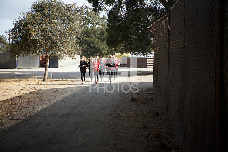 Stanford, CA - September 29, 2018: Warm ups before the Stanford Cross Country Invitational held Saturday morning on the Stanford Golf course.