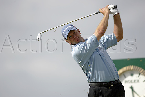 15 July 2005: South African golfer Retief Goosen (RSA) plays an iron from the 16th Tee during the second round. Goosen shot a 1 over par 73 to be 3 under par in The Open Championship on The Old Course at St Andrews, Scotland. Photo: Glyn Kirk/Actionplus....050715 golf major british