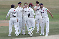 Dom Bess of Somerset celebrates taking the wicket of Ravi Bopara during Essex CCC vs Somerset CCC, Specsavers County Championship Division 1 Cricket at The Cloudfm County Ground on 28th June 2018