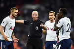Referee Michael Dean points towards Serge Aurier of Tottenham Hotspur during the premier league match at the Wembley Stadium, London. Picture date 16th September 2017. Picture credit should read: Robin Parker/Sportimage