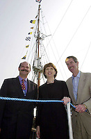 Her Excellency President Mary McAleece pictured with on left Mr. David Irvine, DUP and Mr. Dick Spring, TD beside the  Jeanie Johnston replica famine ship after it was officially named  at Fenit Pier in County Kerry yesterday..Picture by Don MacMonagle