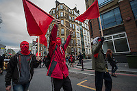 'Fuck Parade' protest against gentrification in London. 1-5-16 The march, which was organised by the Class War anarchist group, went around several London landmarks before finishing in a park in East London.