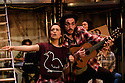 London, UK. 04.05.2016. The Busker's Opera, by Dougal Irvine, opens at the Park Theatre.  Directed by Lotte Wakeham, with set design by Anna Kezia Williams and lighting design by Christopher Nairne. Picture shows: Lauren Samuels (Polly Peachum), George Maguire (Macheath). Photograph © Jane Hobson.