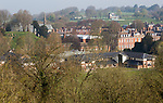 View over buildings and grounds of Marlborough College school, Marlborough, Wiltshire, England, UK