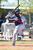 Cleveland Indians outfielder Greg Allen (34) during an Instructional League game against the Seattle Mariners on October 1, 2014 at Goodyear Training Complex in Goodyear, Arizona.  (Mike Janes/Four Seam Images)