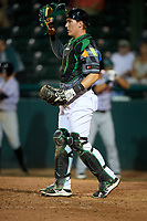 Daytona Tortugas catcher Tyler Stephenson (30) during a game against the Jupiter Hammerheads on April 13, 2018 at Jackie Robinson Ballpark in Daytona Beach, Florida.  Daytona defeated Jupiter 9-3.  (Mike Janes/Four Seam Images)