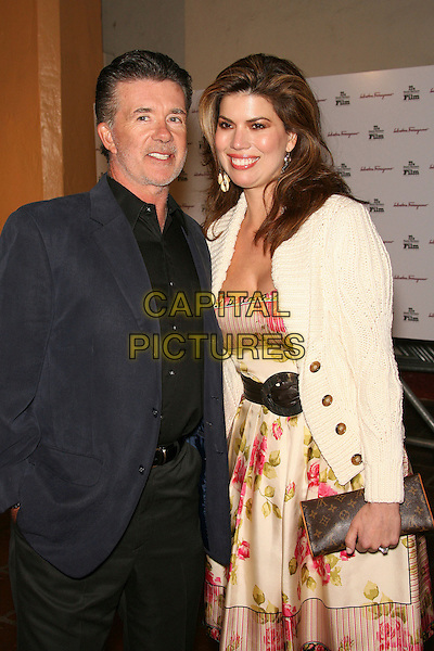 "ALAN THICKE & TANYA CALLAU.SBIFF Opening Night - ""Factory Girl"" Premiere held at Arlington Theatre, Santa Barbara, California, USA..January 25th, 2007.half length blue suit jacket white cardigan floral print dress clutch purse husband wife married.CAP/ADM/ZL.©Zach Lipp/AdMedia/Capital Pictures"