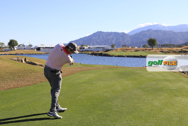 Jon Rahm (ESP) tees off the 18th tee during Saturday's Round 3 of the 2017 CareerBuilder Challenge held at PGA West, La Quinta, Palm Springs, California, USA.<br /> 21st January 2017.<br /> Picture: Eoin Clarke | Golffile<br /> <br /> <br /> All photos usage must carry mandatory copyright credit (&copy; Golffile | Eoin Clarke)