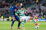 Marcos Acuna (r) of Sporting CP fights for the ball with Nelson Cabral Semedo of FC Barcelona during the UEFA Champions League 2017-18 match between FC Barcelona and Sporting CP at Camp Nou on 05 December 2017 in Barcelona, Spain. Photo by Vicens Gimenez / Power Sport Images