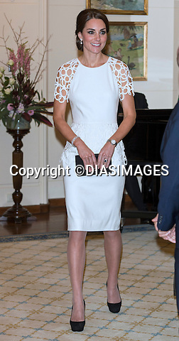 &quot;NO UK USAGE UNTIL 22nd May 2014(28 Days)&quot;<br /> <br /> 24.04.2014; Canberra: KATE AND PRINCE WILLIAM <br /> attend a reception hosted by the Governor-General in Canberra<br /> Mandatory Photo Credit: &copy;DIASIMAGES<br /> <br /> **ALL FEES PAYABLE TO: &quot;NEWSPIX INTERNATIONAL**<br /> <br /> IMMEDIATE CONFIRMATION OF USAGE REQUIRED:<br /> DiasImages, 31 Chinnery Hill, Bishop's Stortford, ENGLAND CM23 3PS<br /> Tel:+441279 324672  ; Fax: +441279656877<br /> Mobile:  0777568 1153