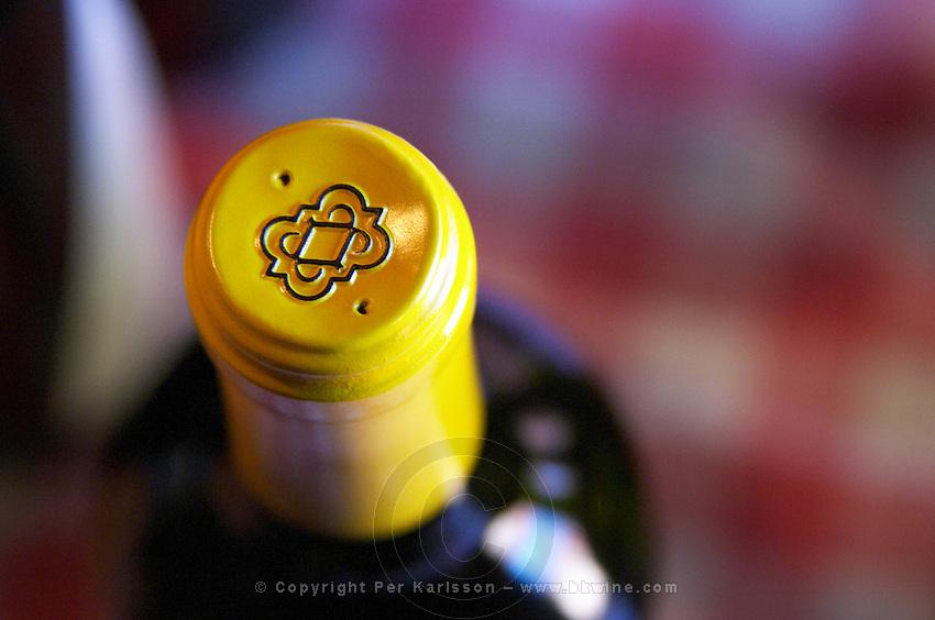 Close up of the capsule of a bottle of Pisano wine. Bodega Pisano Winery, Progreso, Uruguay, South America