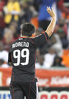 Jaime Moreno #99 of D.C. United leaves the field for the last time during an MLS match against Toronto FC that was the final appearance of D.C. United's Jaime Moreno at RFK Stadium, in Washington D.C. on October 23, 2010. Toronto won 3-2.