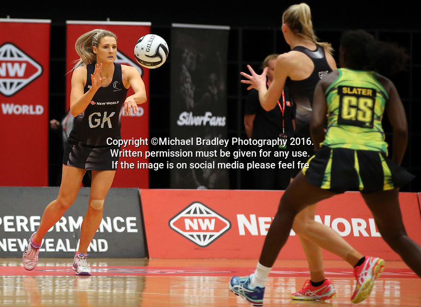 17.09.2016 Silver Ferns Jane Watson in action during the Taini Jamison netball match between the Silver Ferns and Jamaica played at the Energy Events Centre in Rotorua. Mandatory Photo Credit ©Michael Bradley.