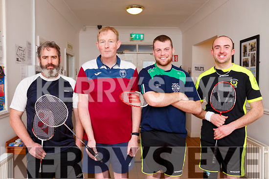 Christy Deane (Aunascual), Liam Harty (Causeway), David Linnane (Ballyduff) and Alan O'Halloran (Ballyheigue) participating at the the Badminton finals in Ballyheigue on Sunday last.