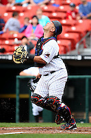 Buffalo Bisons catcher Raul Chavez #19 chases down a pop up during a game against the Charlotte Knights at Dunn Tire Park on May 22, 2011 in Buffalo, New York.  Buffalo defeated Charlotte by the score of 7-5.  Photo By Mike Janes/Four Seam Images