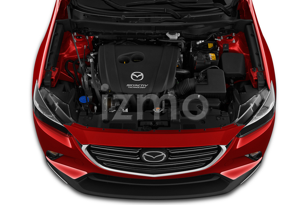 Car Stock 2019 Mazda CX-3 Skycruise 5 Door SUV Engine  high angle detail view