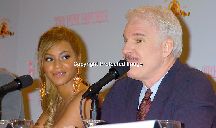 Beyonce and Steve Martin ....at the Pink Panther start of Production Press Conference on May 7, 2004 at the Waldorf Astoria Hotel.                    Photo by Robin Platzer, Twin Images